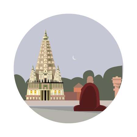 hindu temple: Temple of mahabodhi icon isolated on white background. Vector illustration for famous india building design. Travel tour buddhism postcard. Buddhist landmark symbol Touristic asian religion temple Illustration
