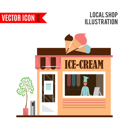sidewalk sale: Ice-cream detailed flat restaurant icon isolated on white background. Vector illustration for shop design. Pale ice cream cafe building.Local street market. Modern front store. Cartoon facade