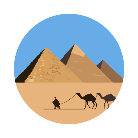 Egipto icono de la pirámide aislada en el fondo blanco. Ilustración del vector para el diseño famoso edificio desierto. Viajar tarjeta postal antigua. El Cairo Giza piedra símbolo señal. Turístico religión templo egipcio Ilustración de vector