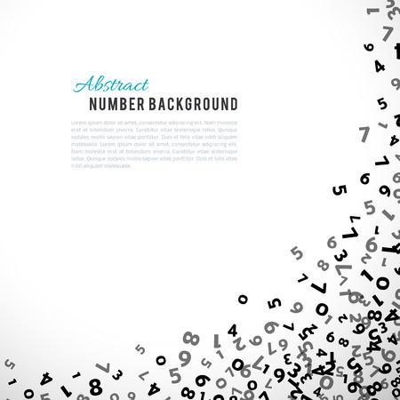 faded: Abstract math number background. Vector illustration for business design. Black white colors. Random sign flying border frame. School sheet. Numeral count concept. Algebra decoration. Report cover