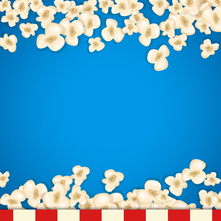heap: Heap popcorn for movie lies on blue background. Vector illustration for cinema design. Pop corn food pile isolated. Border and frame for film poster flyer. Delicious theater sweet or salted snack.