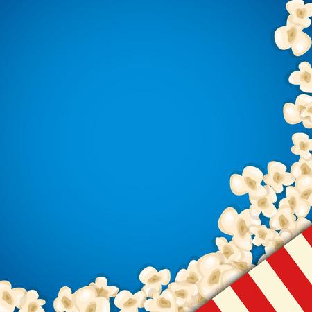 Heap Popcorn für Film liegt auf blauem Hintergrund. Vektor-Illustration für das Kino-Design. Pop Corn Essen Haufen isoliert. Border und Rahmen für Filmplakat Flyer. Köstliche Theater süß oder gesalzen Snack.