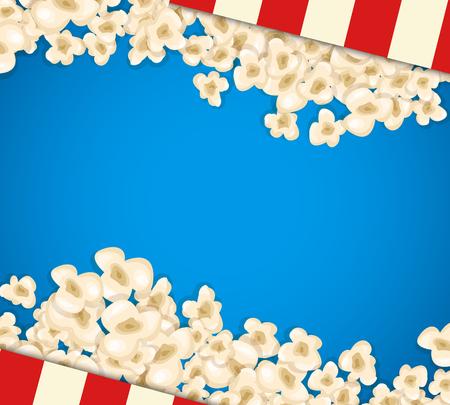 popcorn Heap pour le film se trouve sur le fond bleu. Vector illustration pour la conception du cinéma. Pop pile alimentaire de maïs isolé. Bordure et trame pour l'affiche du film dépliant. Délicieux théâtre de collation sucrée ou salée.