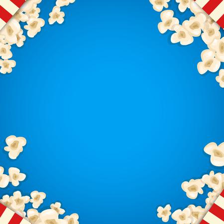 cinta pelicula: Montón de palomitas de maíz para la película se encuentra en el fondo azul. Ilustración del vector para el diseño de cines. aislado pop pila de alimentos de maíz. Y el marco para el aviador cartel de la película. teatro delicioso aperitivo dulce o salado.