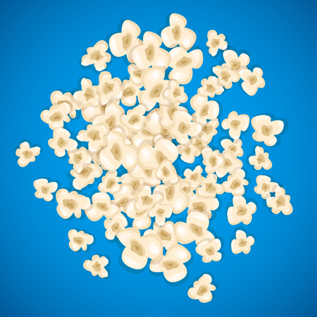 entertainment: Heap popcorn for movie lies on blue background. Vector illustration cinema design. Pop corn food pile isolated. Border and frame film poster flyer. Delicious theater sweet or salted snack.