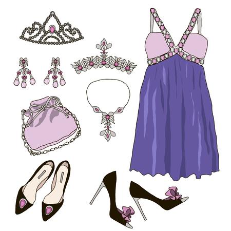 moda ropa: Objetos de guardarropa conjunto de la mujer. Colección de la princesa púrpura vestidos, bolsos, zapatos y accesorios. cartel de tienda de modas. Ilustración vectorial, aislado en el fondo. ropa moderna para una fiesta