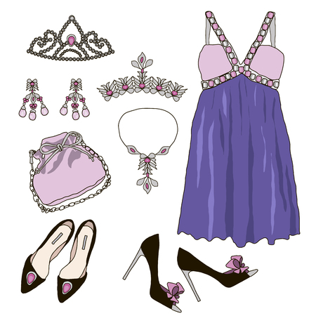 fashion clothes: Woman wardrobe accessories set. Collection of princess purple dresses, bags, shoes and accessories. Fashion boutique poster. Vector illustration, isolated on background. Modern clothes for a party