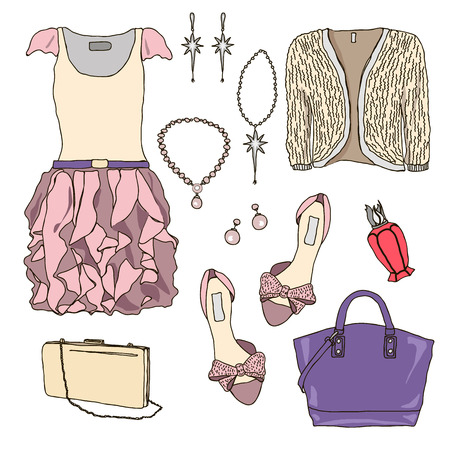 fashion clothes: Woman wardrobe accessories set. Collection of princess pink dresses, bags, shoes and accessories. Fashion boutique poster. Vector illustration, isolated on background. Modern clothes for a party