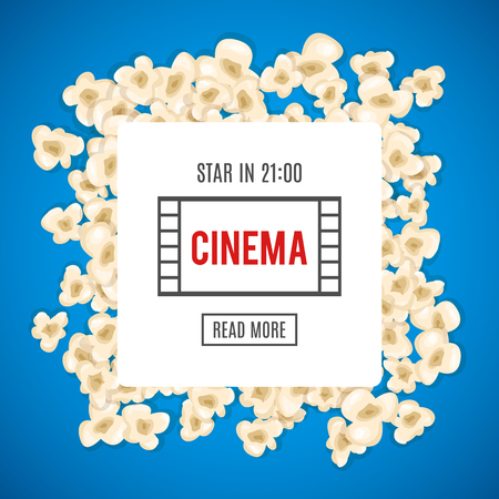 pop corn: Heap popcorn for movie lies on blue background. Vector illustration for cinema design. Pop corn food pile isolated. Border and frame for film poster flyer. Delicious theater sweet or salted snack.