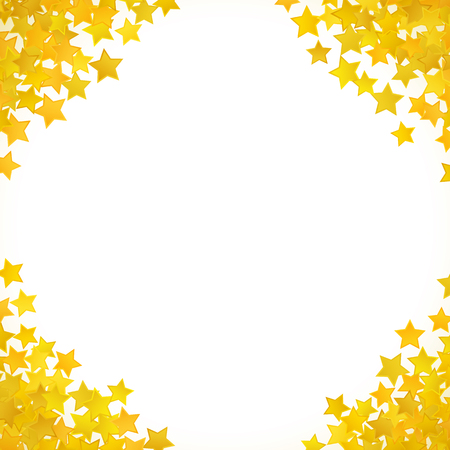 award background: Abstract yellow star background. Vector illustration for gold design. Golden color. Shiny decoration. Symbol celebration. Holiday award shape. Bright banner and frame. Confetti wallpaper element.
