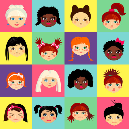 pretty blonde girl: Multinational female face avatar profile heads with multi colored hair. Girls with different hairstyles. Flat design icons isolated on white background. Women close up portraits. illustration Stock Photo
