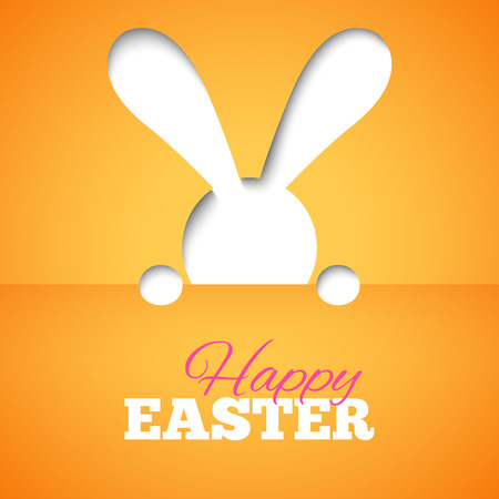 hiding: Happy easter card with hiding bunny and font on orange paper background. illustration for bright funny holiday design. Greeting card with cut out white rabbit. Stock Photo