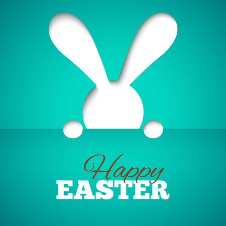 hiding: Happy easter card with hiding bunny and font on blue paper background. illustration for bright funny holiday design. Greeting card with cut out white rabbit.