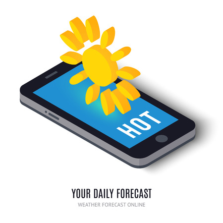 widget: Online daily forecast concept isometric icon. illustration. Smart weather technology system on digital tablet or mobile phone. With sun element. Widget isolated on white background.