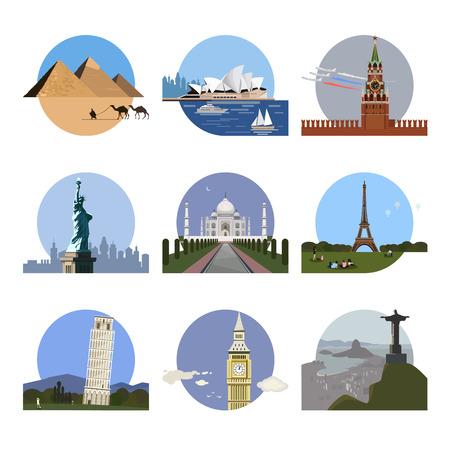 wonders: Countries of the world logo design template. Architecture, monument or landmark icon set. Cairo, Sydney, Moscow, New York, New Delhi, Paris Pisa London Rio de Janeiro. illustration
