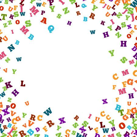 Résumé coloré ornement alphabet frontière isolé sur fond blanc. Vector illustration de l'enseignement lumineux, l'écriture, la conception poétique. lettres aléatoires volent autour. concept de livre pour l'école de grammaire.