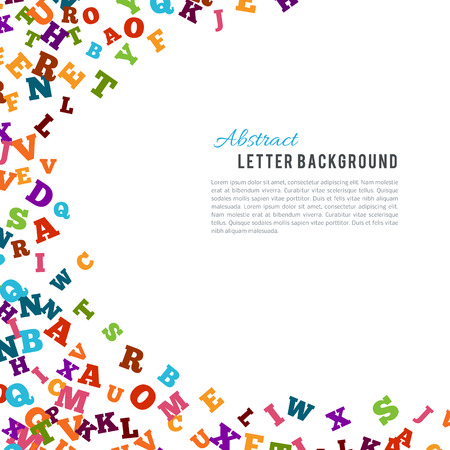 grammar: Abstract colorful alphabet ornament border isolated on white background. Vector illustration for bright education, writing, poetic design. Random letters fly top. Book concept for grammar school.