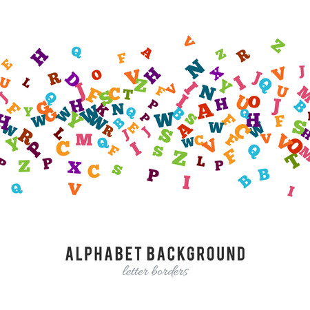 grammar school: Abstract colorful alphabet ornament border isolated on white background. Vector illustration for bright education, writing, poetic design. Random letters fly stripe. Book concept for grammar school.
