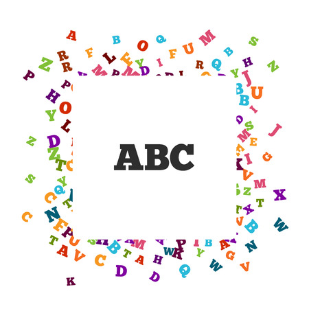 grammar: Abstract colorful alphabet ornament border isolated on white background. Vector illustration for bright education, writing, poetic design. Random letters fly around. Book concept for grammar school. Illustration