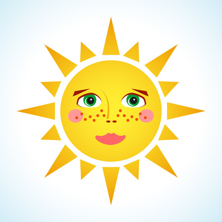 bright sun: cute smiling sun isolated on white background. Pretty yellow sun. Hot summer design element. Sunrise and sunset. Bright nature graphic. Solar system. Sunny weather.