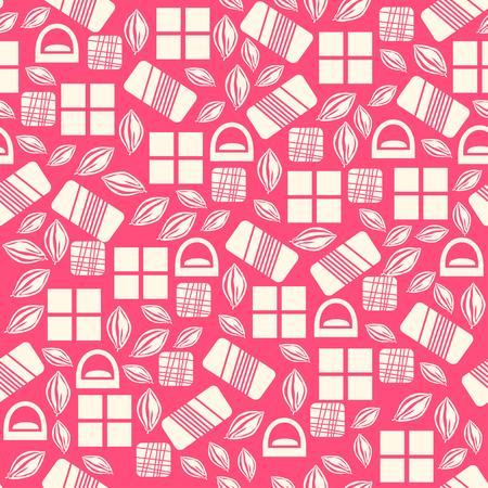 assortment: Seamless pattern with chocolate sweets isolated on pink background. Assortment of chocolate items. Various tasty gourmet products. Can be used for wallpaper and wrapping paper. Mix.