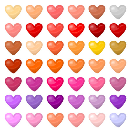 palitra: Set of colorful hearts. Palitra of different colors. Each element can be easily used. Romantic concept. Valentine day holiday. Background. Flat style. For posters, banners, greeting cards. Stock Photo