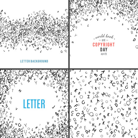 latin: Set of random letters patterns. Abstract background with alphabet. Creative wallpaper design in office style. Mix of letter. Latin ABC. Promotion of reading publishing and copyright. Vector collection