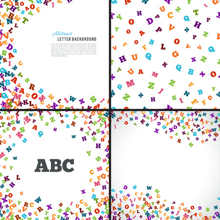 grammar: Abstract colorful alphabet ornament patterns isolated on white background. Vector illustration for bright education collection design. Random letters fly. Book concept set for grammar school