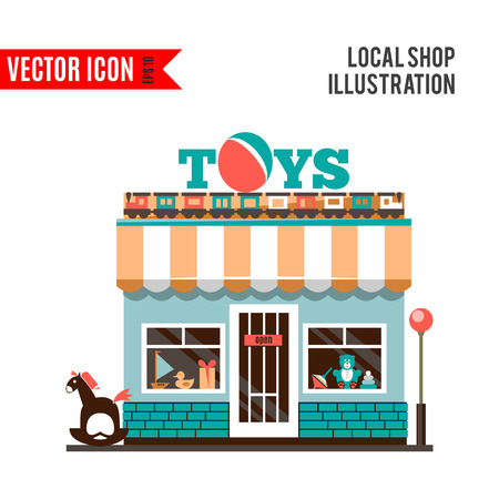toy shop: Toy shop icon isolated on white background. Vector illustration for childhood design. Retail store. Gift sale business. Game collection. Simple leisure sign and symbol. Cartoon flat market.