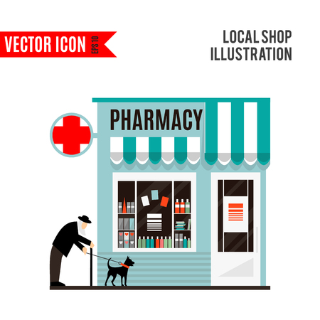simple store: Pharmacy shop icon isolated on white background. Vector illustration for medicine design. Retail store. Medical sale business. Health collection. Simple hospital sign and symbol. Cartoon flat market.