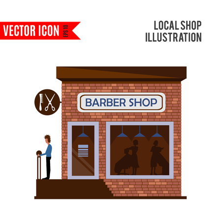 simple store: Barber shop icon isolated on white background. Vector illustration for hair design. Retail store. Hairdresser salon business. Beauty collection. Simple haircut sign and symbol. Cartoon flat barbershop Illustration
