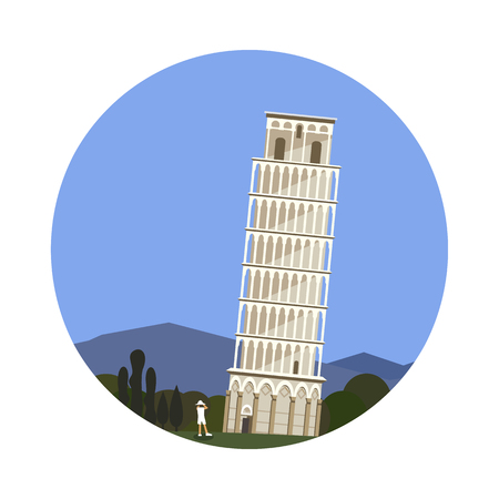 italian architecture: Leaning Tower of Pisa icon isolated on white background. Vector illustration for famous ancient building design. Travel italy postcard. Classic europe landmark symbol. Touristic italian architecture