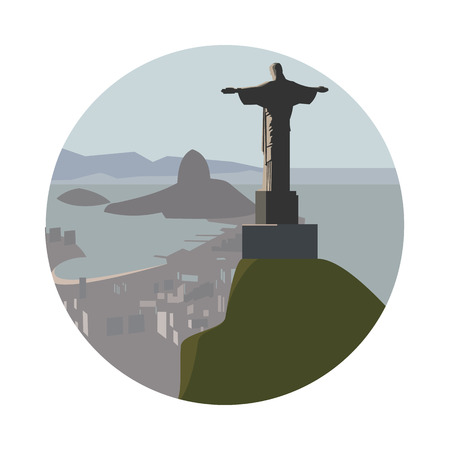 cristo: Christ the Redeemer icon isolated on white background. Vector illustration for famous ancient building design. Travel brazil postcard. Classic christian landmark symbol Touristic religion architecture