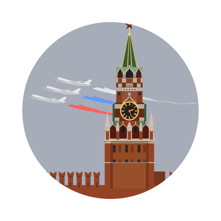 Moscow Kremlin icon isolated on white background. Vector illustration for famous russia building design. Travel russian postcard. Classic capital landmark symbol. Touristic culture architecture