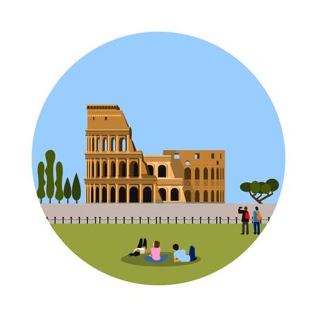 ruin: Colosseum icon isolated on white background. Vector illustration for famous italy building design. Travel italian postcard. Classic rome landmark symbol. Touristic ruin culture europe architecture