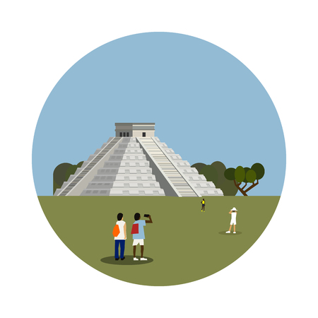 ruin: Aztec pyramid icon isolated on white background. Vector illustration for famous mexico building design. Travel ancient postcard. Classic mayan landmark symbol. Touristic mexican ruin architecture Illustration