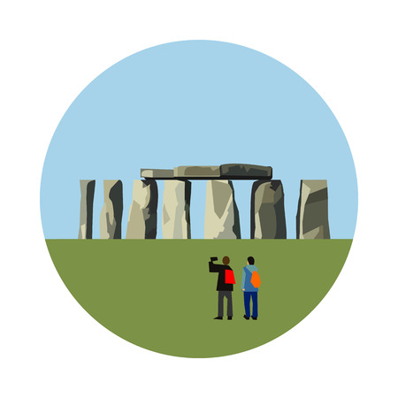 religious building: Stonehenge icon isolated on white background. Vector illustration for famous england building design. Travel ancient postcard. Classic english landmark symbol. Touristic religious culture architecture