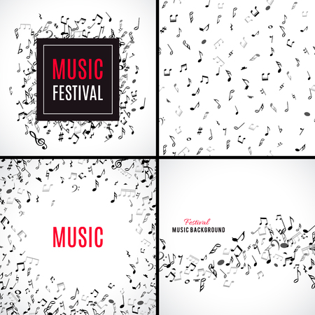 abstract melody: Abstract musical patterns with black notes on white background. Set vector Illustration for music design. Modern pop  collection concept art melody banner. Sound key decoration with music symbol sign.