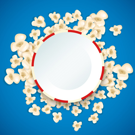 for design: Heap popcorn for movie lies on blue background. Vector illustration for cinema design. Pop corn food pile isolated. Border and frame for film poster flyer. Delicious theater sweet or salted snack.