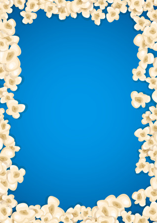 entertainment: Heap popcorn for movie lies on blue background. Vector illustration for cinema design. Pop corn food pile isolated. Border and frame for film poster flyer. Delicious theater sweet or salted snack.