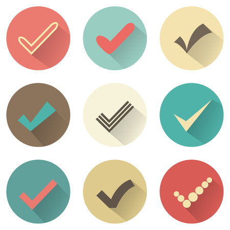 vote: Set of different retro check marks or ticks. Confirmation acceptance positive passed voting agreement true or completion of tasks on a list. Retro colors.