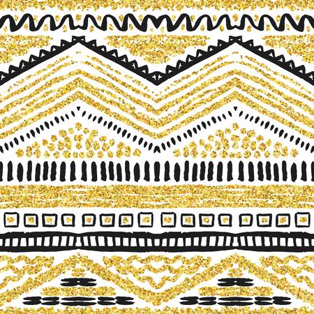Hand goldenen nahtlose Muster gezeichnet. Illustration für Gold-Design. Ethnische Motiv. Zick-Zack-und Streifenlinie. Gelbe und weiße Farben. Für Einladung, Web, Textil-, Tapeten, Geschenkpapier.