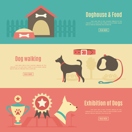 leash: Retro pet flat horizontal banner set. illustration for animal design. Doggy silhouette. With dog, house, food, award and walking, leash, collar, exhibition.