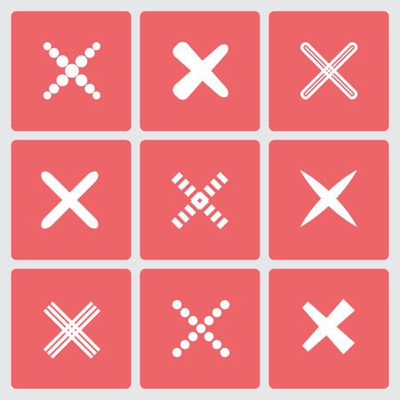 Set of different retro crosses and tics. Confirmation, right and wrong choices, task completion, voting, isolated on white background. Red, yellow colors. Elements in flat design. Banco de Imagens