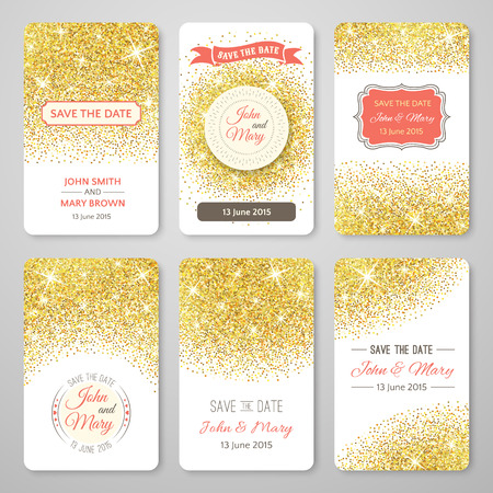 premium: Set of perfect wedding templates with golden confetti theme. Ideal for Save The Date, baby shower, mothers day, valentines day, birthday cards, invitations. illustration for gold design. Stock Photo