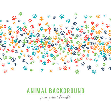 animalistic: Colorful dog paw prints background isolated on white background. Paw print border design. Animalistic style. Footprint icons. Colorful pet steps. Abstract animal graphic. illustration