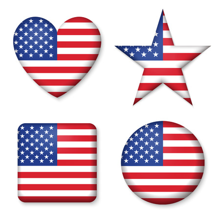 American United States Flag in glossy form button of icon. USA emblem isolated on white background. National concept sign. Independence Day Symbol. 4 July. Set of circle, star, heart, square elements