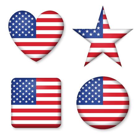 Amerikanische Flagge Der Vereinigten Staaten In Glänzend Runde ...