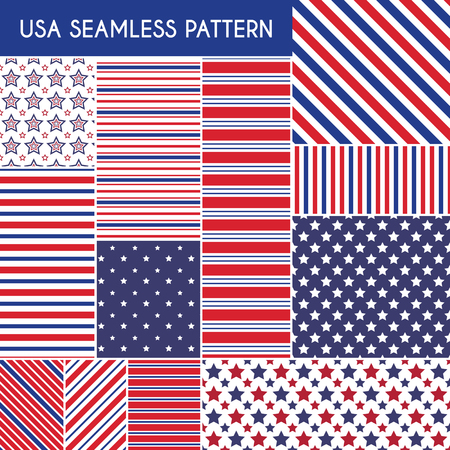 diagonal: Patriotic red, white, blue geometric seamless patterns. Vector illustration set with American symbols. USA flag wallpapers. Diagonal stripe, star shape. Happy Independence Day 4th of July.