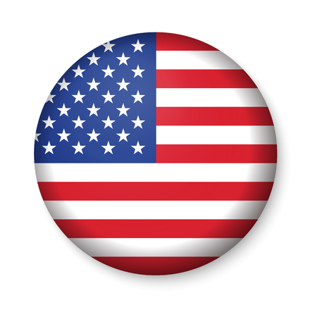 American United States Flag in glossy round button of icon. USA emblem isolated on white background. National concept sign. Independence Day Symbol. 4 July freedom patriotic banner with pride color